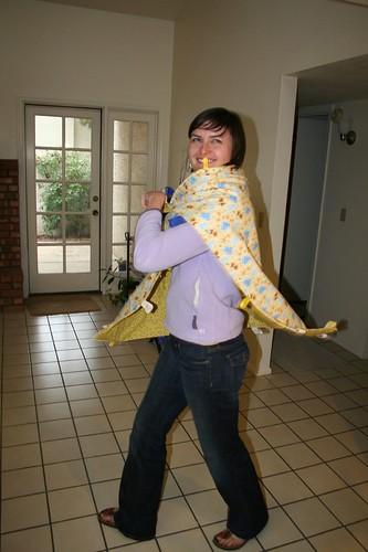 Sarah, rocking the baby blanket