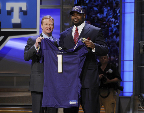 Roger Goodell and Michael Oher in New York City