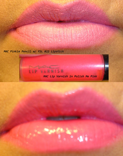 YSL Lipstick and MAC Lip Varnish in Polish Me Pink