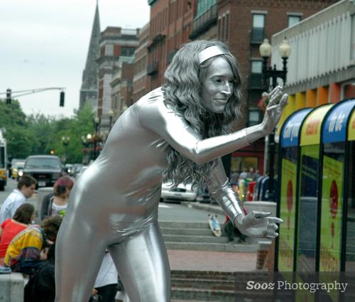 Silver performance artist in Harvard Square