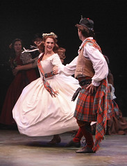 (L to R) Courtney Iventosch (Jean MacLaren) and Brandon Springman (Charlie Dalrymple) in Brigadoon, produced by Music Circus at the Wells Fargo Pavilion August 5-10, 2014. Photos by Charr Crail.