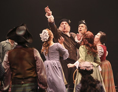 (Center) Ron Wisniski (Archie Beaton) and cast of Brigadoon, produced by Music Circus at the Wells Fargo Pavilion August 5-10, 2014. Photos by Charr Crail.