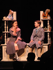 (L to R) Noa Solorio (Jane Banks) and Ben Ainley-Zoll (Michael Banks) in Mary Poppins, produced by Music Circus at the Wells Fargo Pavilion July 8 - 13, 2014. Photos by Charr Crail.