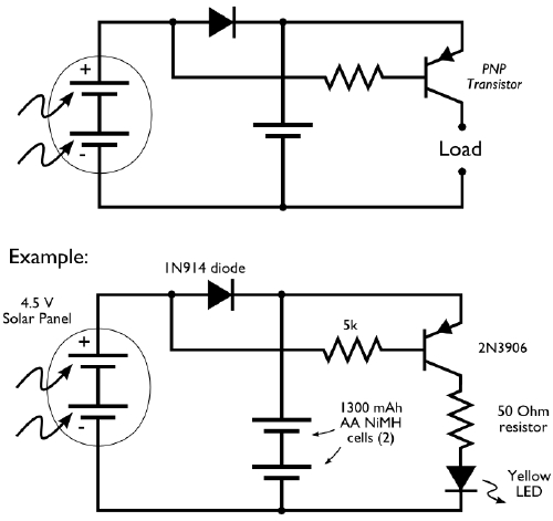 circuit for a solar night light it uses a single high bright light