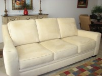 Light butter yellow microfiber three cushion sofa | Flickr ...