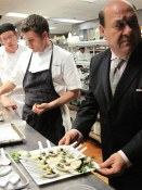 Celestino readies the first plate