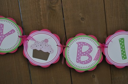 Hot Pink and Green Cupcake Happy Birthday Banner More desi\u2026 Flickr