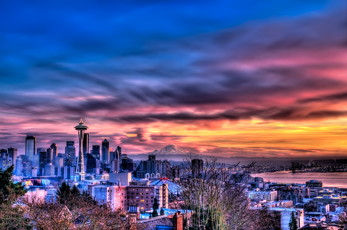 Seattle Washington In Fall City Night Wallpaper Blazing Seattle Sunset Wide A Photo On Flickriver