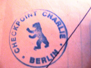Stamp from Checkpoint Charlie, Berlin, 1983