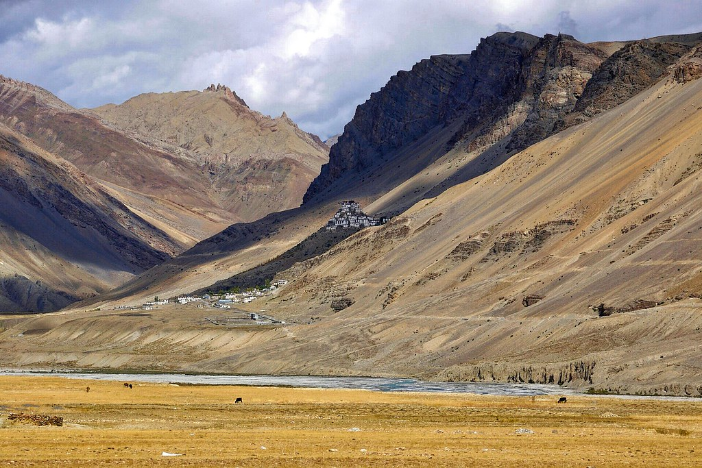 Kibber and Ki Gompa from aross the valley