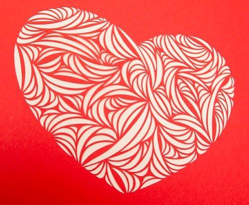 Heart paper cut work