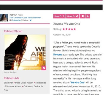 Kevens Album Release _We Are One_ - Fort Lauderdale Local Music | Examiner.com