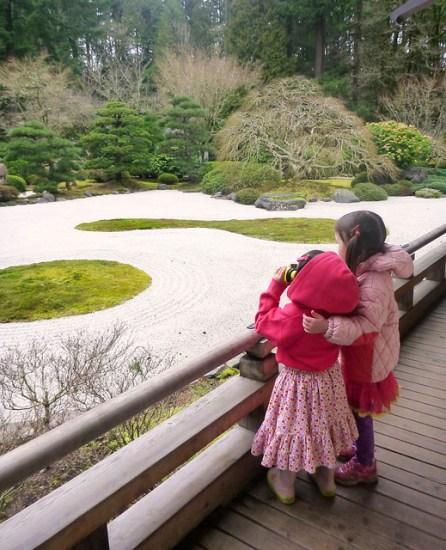 Girls at Japanese Garden, Portland, OR