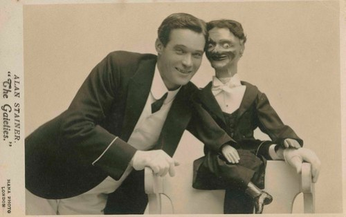 Photographic postcard of ventriloquist Alan Stainer of 'The Gaieties'.