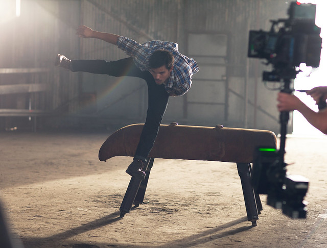 Taylor Lautner does his own stunts for the Bench Campaign
