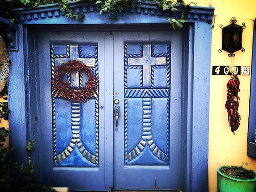 Blue Door Old Town Albuquerque New Mexico Wreath IMG_2729x by Dallas Texas Photographer David Kozlowski