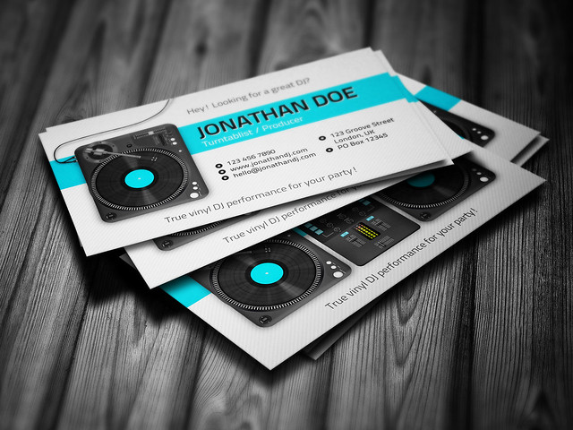 DJ Business Card Template (PSD) Design4DJ  Promotional print