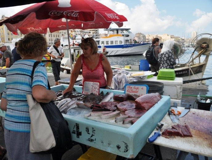 Fresh Seafood Being Sold at the Marseille Fish Market