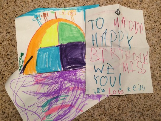drawings for Maddie from Georgie, Reilly, and Molly.