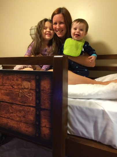 hanging on the top bunk