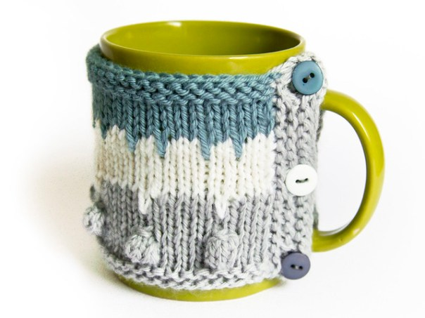 A Chance Of Blue Skies Mug Hugger pattern by Mimi Hill for Refuge