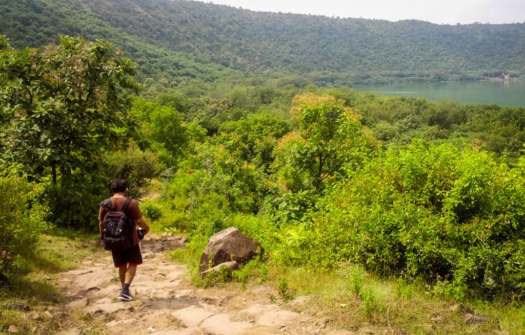 Lovell walking down the Lonar crater