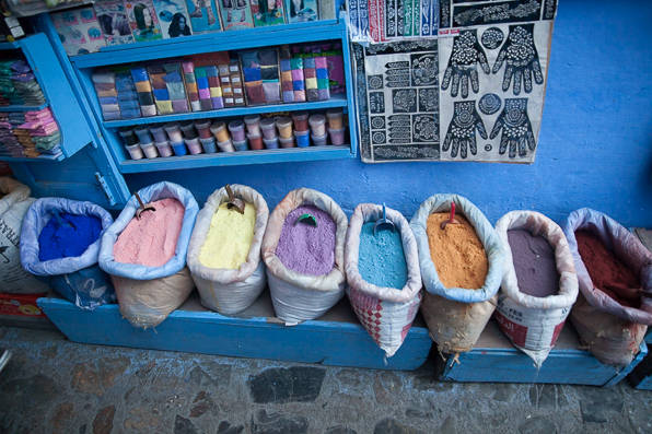 Pigment and dyes at Chefchaouen market, Morocco