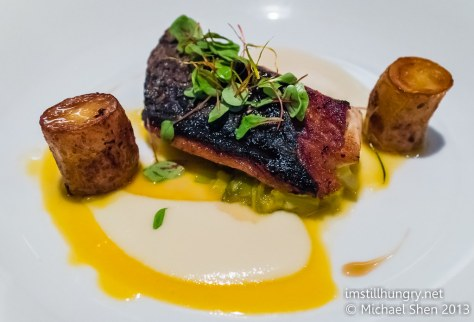 Foveaux Bonito, prawn braised leeks, fondant potatoes, kohlrabi puree & white wine reduction
