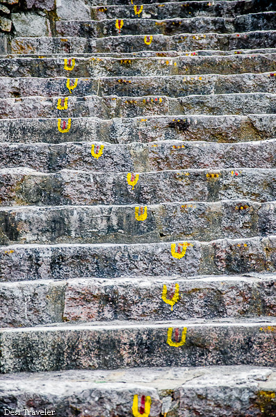 decorated stairs to mahakali temple golconda india travel blog