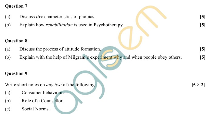 ISC Class 12 Sample Paper 2019, 2018, 2017 \u2013 Psychology AglaSem