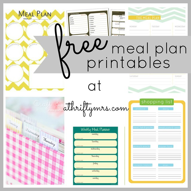 Free Meal Plan Printables - A Thrifty Mrs