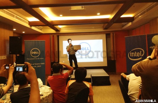 Alvin Go, Brand Manager, Dell Philippines, shows the Dell Vostro 5460 in front of the media during the launching held at Holiday Inn Suites in Makati.
