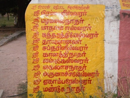Names of the Shiva Lingam worshipped by Lord Brahma
