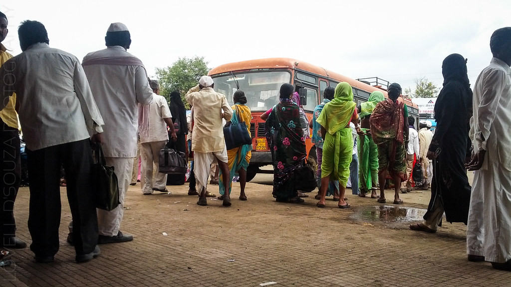 Locals at the Lonar bus stand
