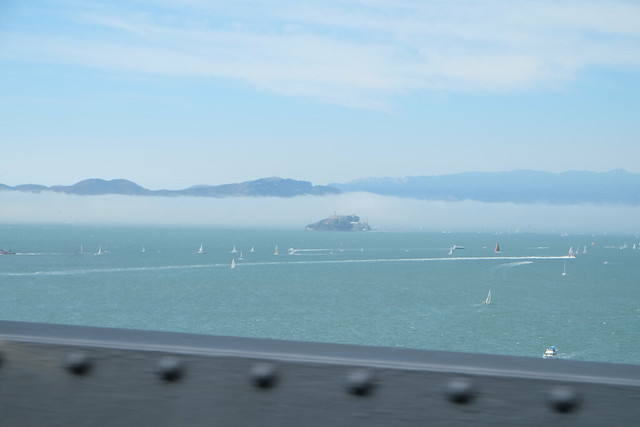 Alcatraz and sails