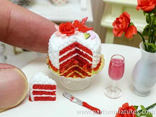 Romantic red velvet cake in miniature