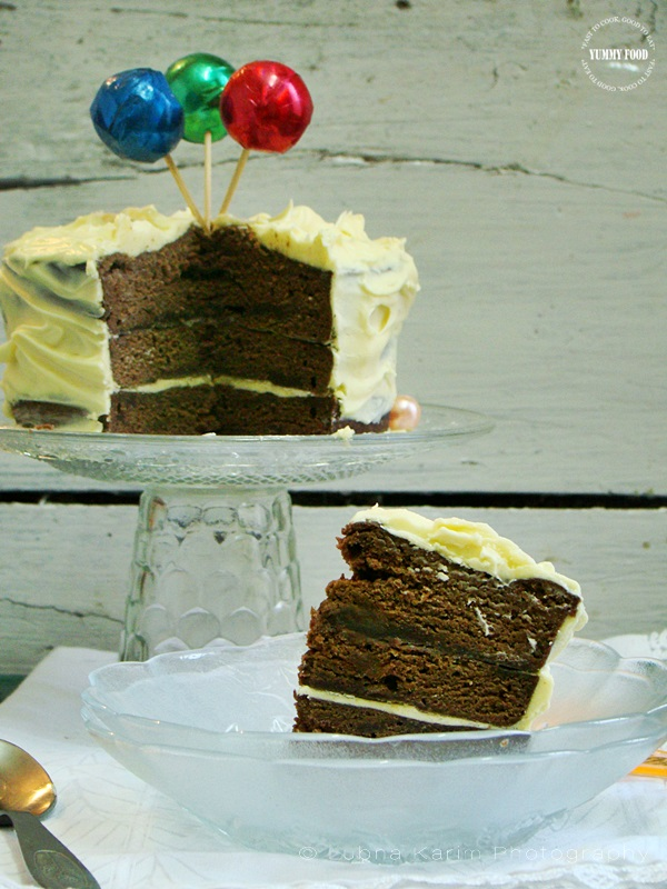 Microwave Chocolate Cake with Vanilla Buttercream Frosting