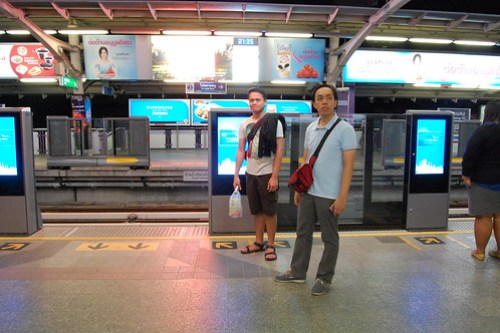 Waiting for our Ride at BTS Silom Station