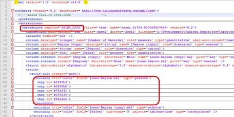 XML structure of Tableau workbook file