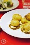 Hay smoked new potatoes with Kewpie mayo and Kimchi puree