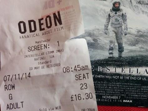 Interstellar IMAX ticket