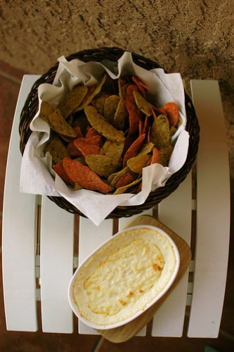 hot crab dip and tortillas