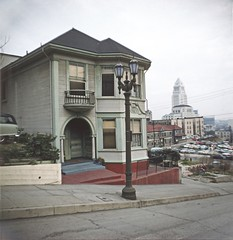 BH112 City Hall from Bunker Hill, Los Angeles - Late 1950s.  This copyrighted photograph was taken by George Mann of the comedy dance team, Barto & Mann.jpg