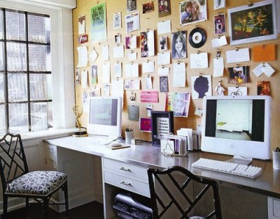 desk & corkboard wall Elle Decor