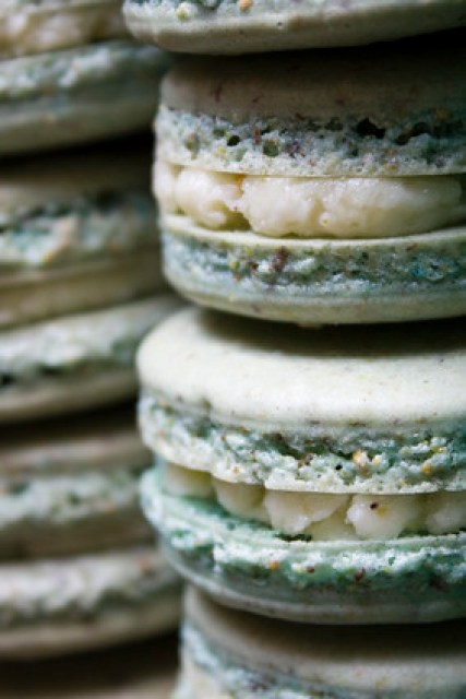 Stacked Pistachio Macarons