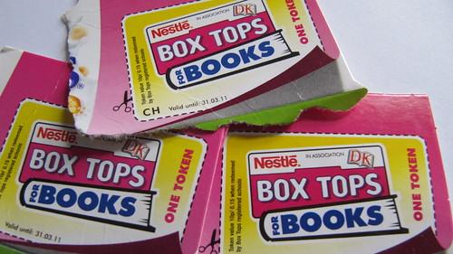 Nestle Box Tops for Books tokens