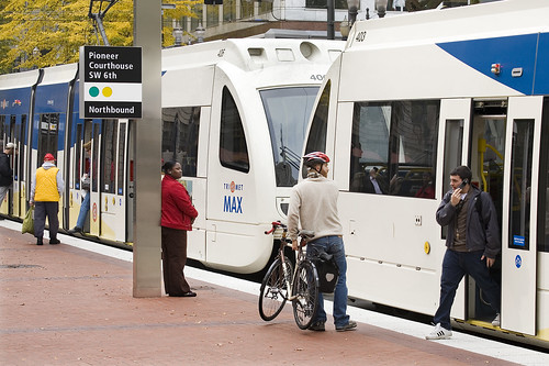 Downtown Transit Mall MAX boarding with bike