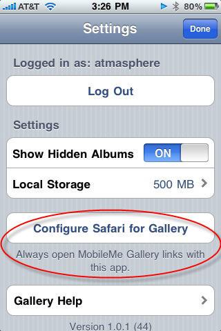 Configure Safari for Gallery