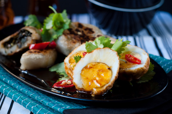 Chinese chive cakes & son-in-law eggs