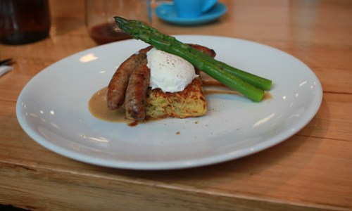 Sausages, hash and bagna cauda